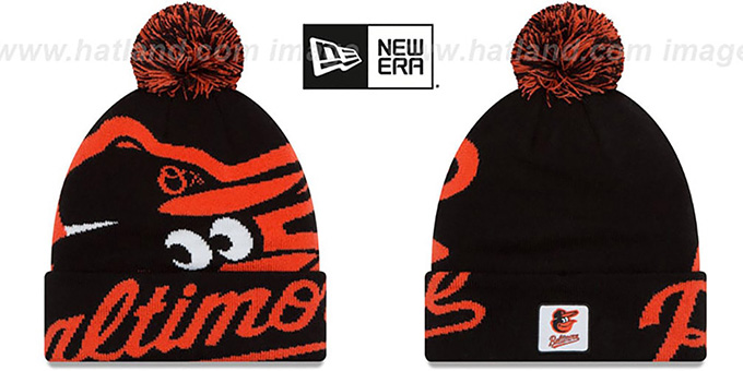 Orioles 'COLOSSAL-TEAM' Black Knit Beanie Hat by New Era : pictured without stickers that these products are shipped with