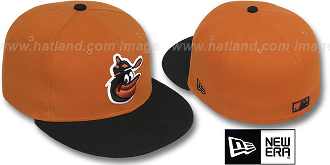 Orioles COOP '2T-FASHION' Burnt Orange-Black Fitted Hat by New Era : pictured without stickers that these products are shipped with