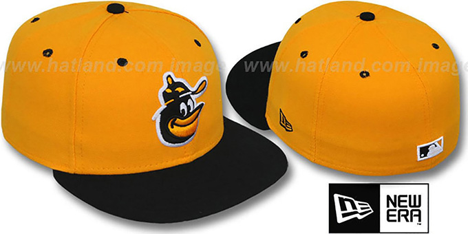 Orioles COOP '2T-FASHION' Gold-Black Fitted Hat by New Era : pictured without stickers that these products are shipped with