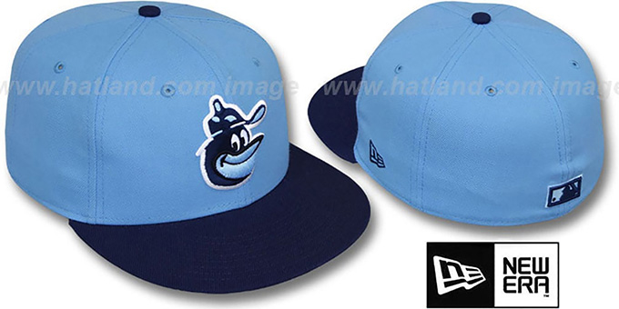 Orioles COOP '2T-FASHION' Sky-Navy Fitted Hat by New Era : pictured without stickers that these products are shipped with