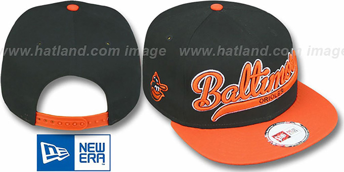 Orioles COOP '2T SCRIPTER SNAPBACK' Black-Orange Hat by New Era : pictured without stickers that these products are shipped with