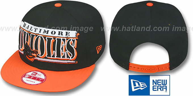 Orioles COOP '2T STILL BREAKIN SNAPBACK' Black-Orange Hat by New Era : pictured without stickers that these products are shipped with