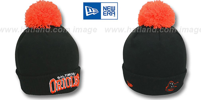 Orioles COOP 'ARCHED-RIBBED' Black Knit Beanie Hat by New Era : pictured without stickers that these products are shipped with