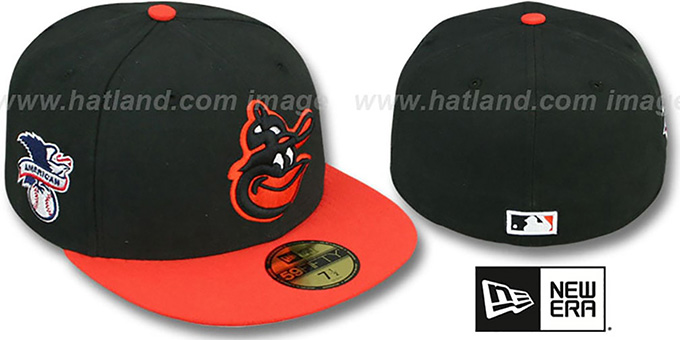 Orioles COOP 'BAYCIK' Black-Orange Fitted Hat by New Era : pictured without stickers that these products are shipped with