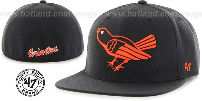 Orioles 'COOP HOLE-SHOT' Black Fitted Hat by Twins 47 Brand : pictured without stickers that these products are shipped with