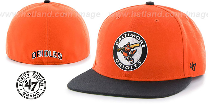 Orioles 'COOP HOLE-SHOT' Orange-Black Fitted Hat by Twins 47 Brand : pictured without stickers that these products are shipped with