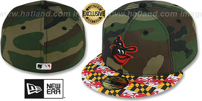Orioles COOP 'MARYLAND-FLAG' Army Camo Fitted Hat by New Era : pictured without stickers that these products are shipped with