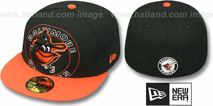Orioles COOP 'NEW MIXIN' Black-Orange Fitted Hat by New Era : pictured without stickers that these products are shipped with