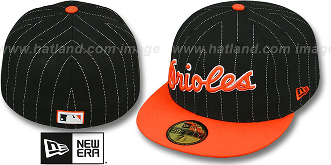 Orioles COOP 'PIN-SCRIPT' Black-Orange Fitted Hat by New Era : pictured without stickers that these products are shipped with