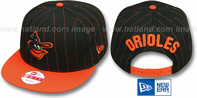 Orioles COOP 'PINSNAP SNAPBACK' Black-Orange Hat by New Era : pictured without stickers that these products are shipped with
