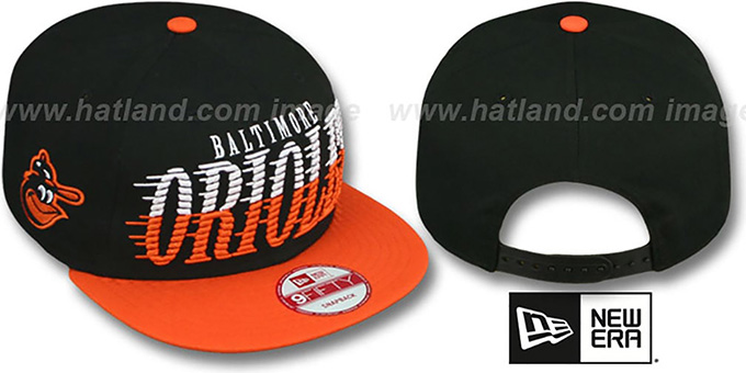 Orioles COOP 'SAILTIP SNAPBACK' Black-Orange Hat by New Era : pictured without stickers that these products are shipped with