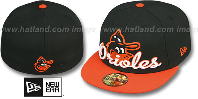 Orioles COOP 'SCRIPT-PUNCH' Black-Orange Fitted Hat by New Era : pictured without stickers that these products are shipped with