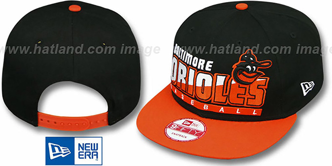 Orioles COOP 'SLICE-N-DICE SNAPBACK' Black-Orange Hat by New Era : pictured without stickers that these products are shipped with