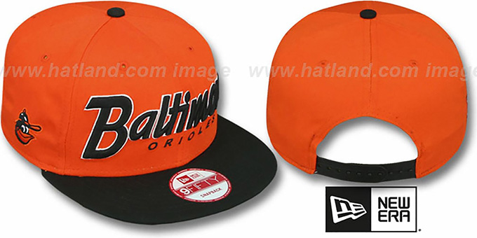 Orioles COOP 'SNAP-IT-BACK SNAPBACK' Orange-Black Hat by New Era : pictured without stickers that these products are shipped with