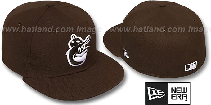 Orioles COOP 'SOLID FASHION' Brown-White Fitted Hat by New Era : pictured without stickers that these products are shipped with