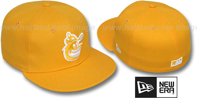 Orioles COOP 'SOLID FASHION' Gold-White Fitted Hat by New Era : pictured without stickers that these products are shipped with