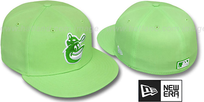 Orioles COOP 'SOLID FASHION' Melon-White Fitted Hat by New Era : pictured without stickers that these products are shipped with
