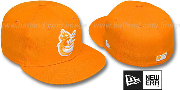 Orioles COOP 'SOLID FASHION' Orange-White Fitted Hat by New Era : pictured without stickers that these products are shipped with
