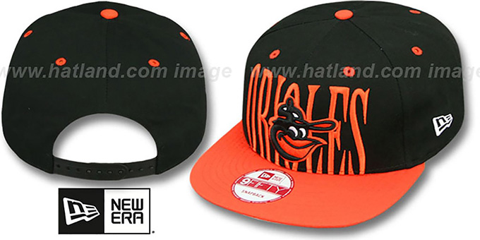 Orioles COOP 'STEP-ABOVE SNAPBACK' Black-Orange Hat by New Era : pictured without stickers that these products are shipped with