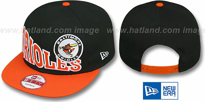 Orioles COOP 'STOKED SNAPBACK' Black-Orange Hat by New Era : pictured without stickers that these products are shipped with