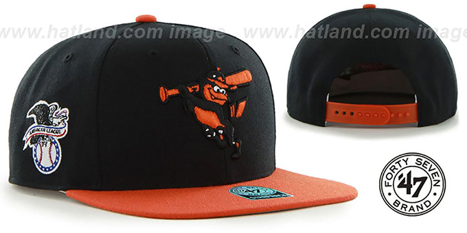 Orioles COOP 'SURE-SHOT SNAPBACK' Black-Orange Hat by Twins 47 Brand : pictured without stickers that these products are shipped with