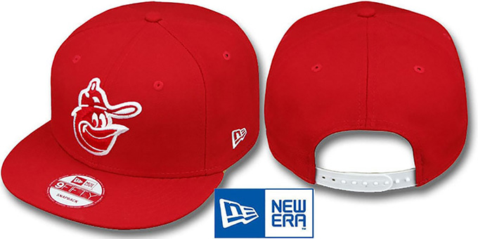 Orioles COOP 'TEAM-BASIC SNAPBACK' Red-White Hat by New Era : pictured without stickers that these products are shipped with