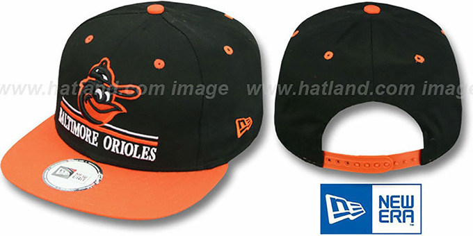 Orioles COOP 'UNDERLINE SNAPBACK' Black-Orange Hat by New Era : pictured without stickers that these products are shipped with