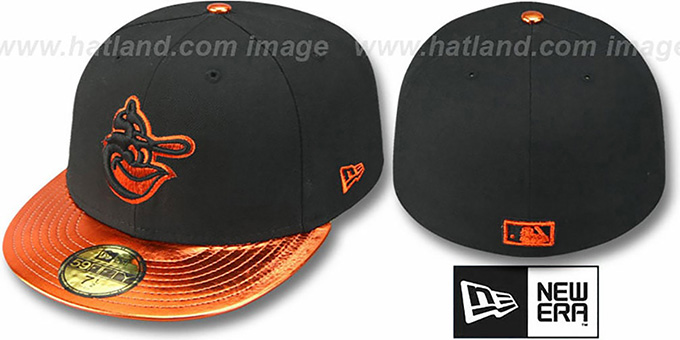 Orioles COOP 'VIZATION' Black-Orange Fitted Hat by New Era : pictured without stickers that these products are shipped with