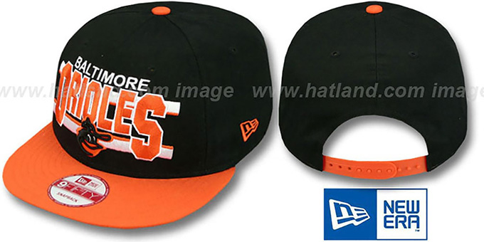 Orioles COOP 'WORDSTRIPE SNAPBACK' Black-Orange Hat by New Era : pictured without stickers that these products are shipped with