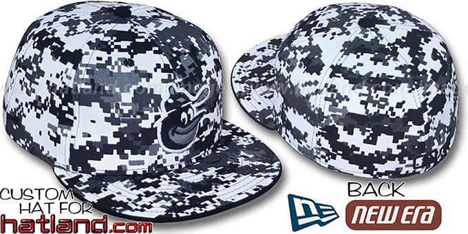 Orioles 'COOPERSTOWN DIGITAL URBAN CAMO' Fitted Hat by New Era : pictured without stickers that these products are shipped with
