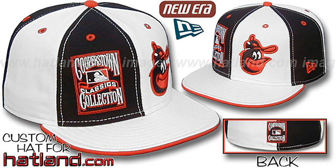 Orioles COOPERSTOWN 'DOUBLE WHAMMY' Black-White Fitted Hat : pictured without stickers that these products are shipped with