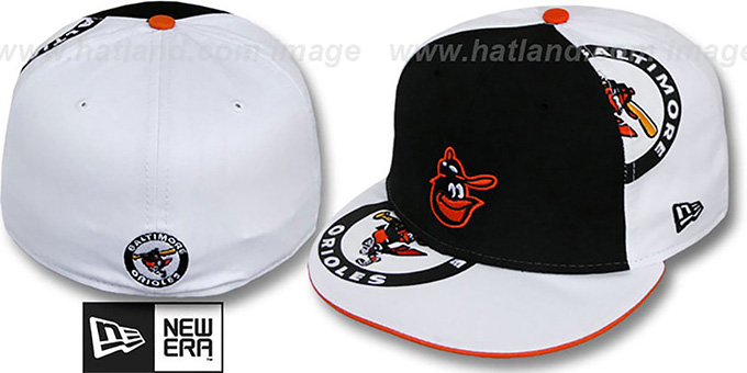 Orioles 'COOPERSTOWN ORLANTIC-3' Black-White Fitted Hat by New Era : pictured without stickers that these products are shipped with