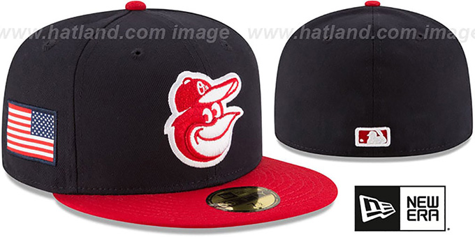 Orioles 'COUNTRY COLORS' Navy-Red Fitted Hat by New Era : pictured without stickers that these products are shipped with