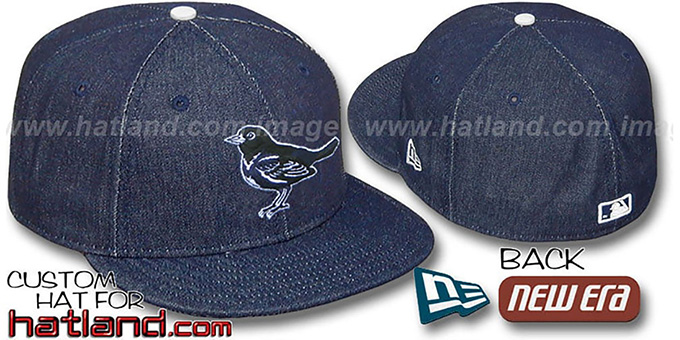 Orioles 'DENIM' Fitted Hat by New Era - navy : pictured without stickers that these products are shipped with