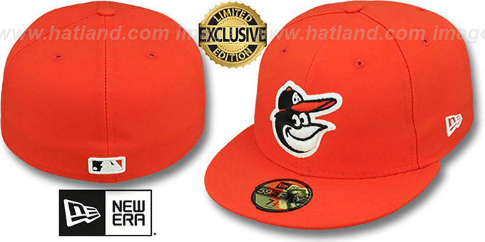 Orioles 'FASHION' Orange Fitted Hat by New Era : pictured without stickers that these products are shipped with