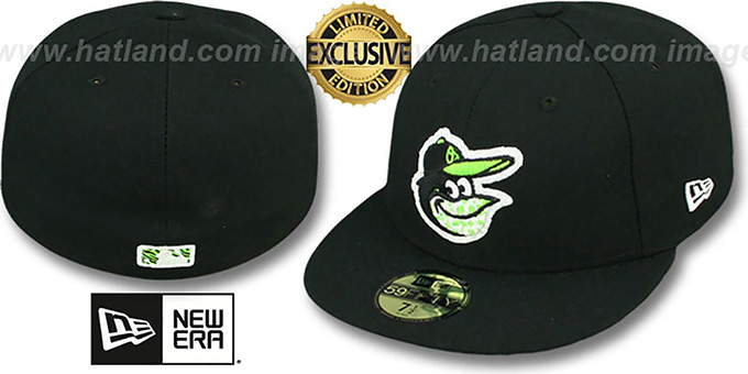 Orioles 'FASHION SAFARI' Black Fitted Hat by New Era : pictured without stickers that these products are shipped with