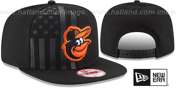 Orioles 'FLAG-FRONT SNAPBACK' Black Hat by New Era : pictured without stickers that these products are shipped with