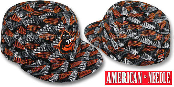 Orioles 'FLICKER' Black Fitted Hat by American Needle : pictured without stickers that these products are shipped with