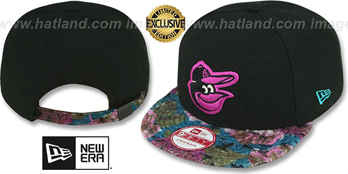 Orioles 'FLORAL-FUR STRAPBACK' Black-Purple Hat by New Era : pictured without stickers that these products are shipped with