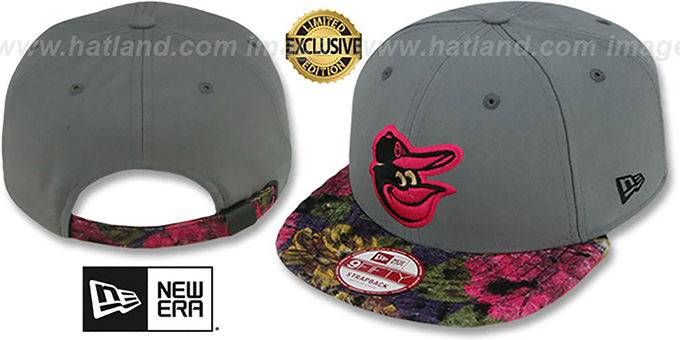 Orioles 'FLORAL-FUR STRAPBACK' Grey-Pink Hat by New Era : pictured without stickers that these products are shipped with
