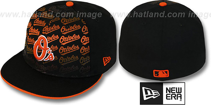 Orioles 'FONT-FADEOUT' Black Fitted Hat by New Era : pictured without stickers that these products are shipped with