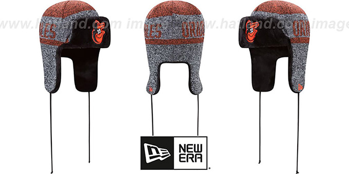 Orioles 'FROSTWORK TRAPPER' Orange Knit Hat by New Era : pictured without stickers that these products are shipped with