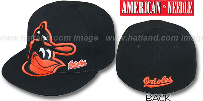 Orioles 'GETTIN BIG' Black Fitted Hat by American Needle : pictured without stickers that these products are shipped with