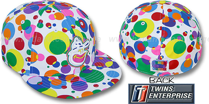 Orioles 'GUMBALL' White-Multi Fitted Hat by Twins : pictured without stickers that these products are shipped with
