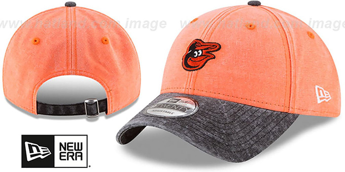 Orioles 'GW RUGGED CANVAS STRAPBACK' Orange-Black Hat by New Era : pictured without stickers that these products are shipped with