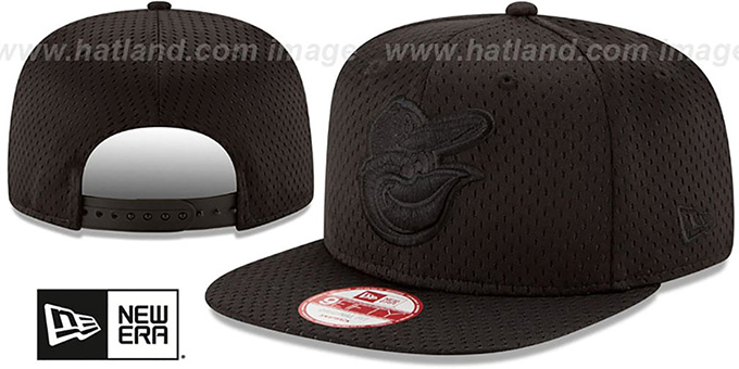 Orioles 'JERSEY MESH TONAL SNAPBACK' Black Hat by New Era : pictured without stickers that these products are shipped with