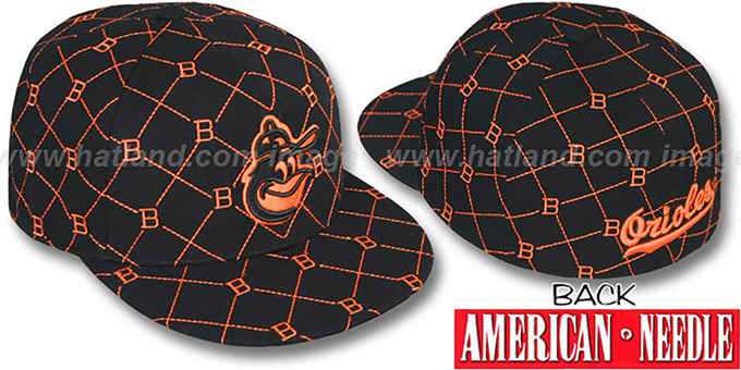 Orioles 'KINGSTON ALL-OVER' Black-Orange Fitted Hat by American Needle : pictured without stickers that these products are shipped with