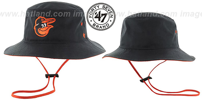 Orioles 'KIRBY BUCKET' Black Hat by Twins 47 Brand : pictured without stickers that these products are shipped with