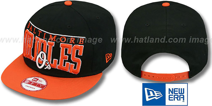Orioles 'LE-ARCH SNAPBACK' Black-Orange Hat by New Era : pictured without stickers that these products are shipped with