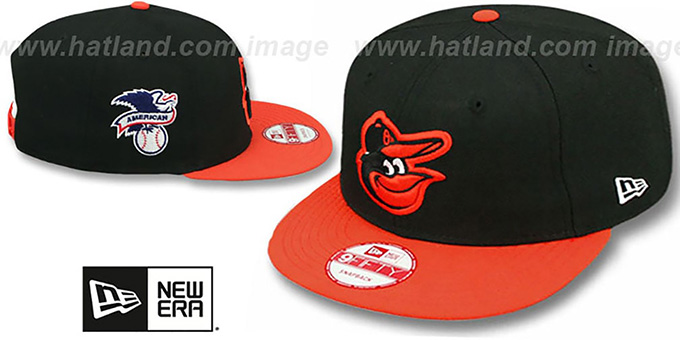 Orioles 'LEAGUE REPLICA ROAD SNAPBACK' Hat by New Era : pictured without stickers that these products are shipped with